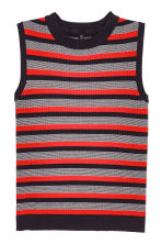 Sleeveless top - Dark blue/Red striped -  | H&M CN 2